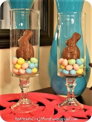 Easy DIY Easter Bunny in a pedestal Jar vase Dollar Store Easter craft idea for a centerpiece or gift basket. The Best Easy DIY Easter Decoration Ideas for Spring