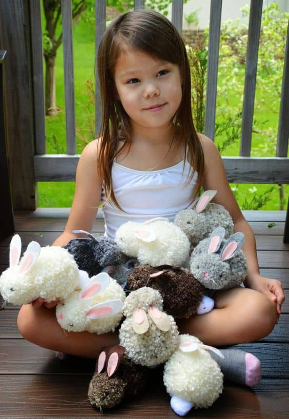 Easy DIY Pom Pom Bunnies Easter craft idea for kids. The Best Easy DIY Easter Decoration Ideas.