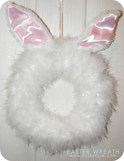 Easy DIY Easter Bunny Wreath dollar store craft decoration idea