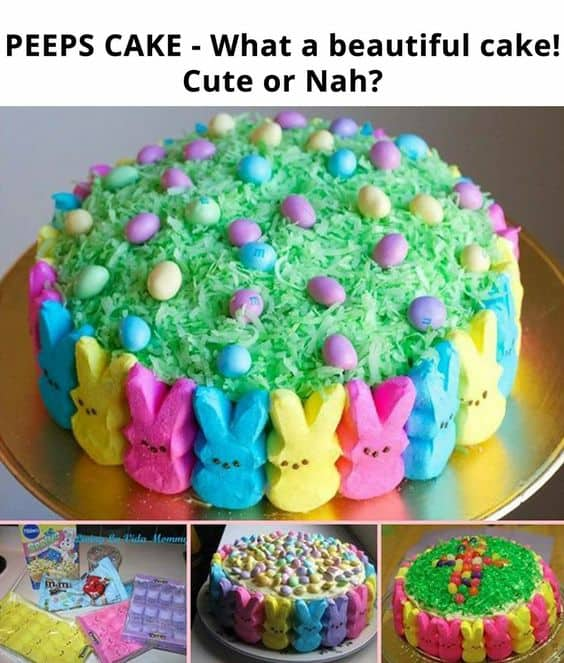 Cake decorated with Peeps and green shredded coconut. Easy DIY Easter Dessert Idea.