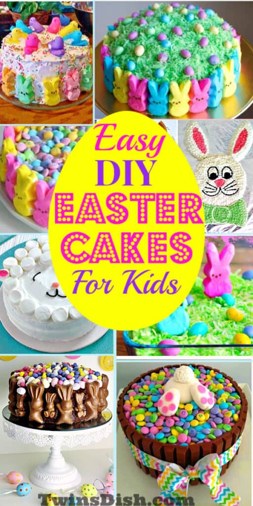 Amazing Yet Easy Easter Cake decorating ideas and recipes for kids. Includes simple yet cute Bunny cakes, Peeps cakes, and decorating ideas using coconut, chocolate, and eggs.