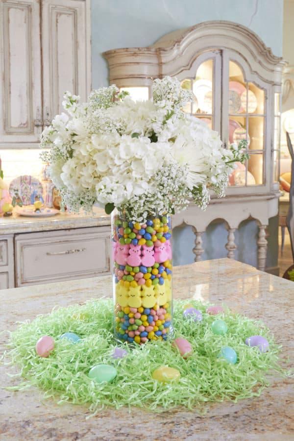 DIY Easter candy filled Vase floral arrangement table setting.