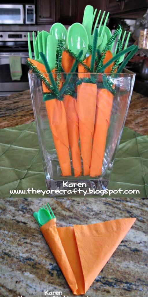 Genius and easy carrot utensils for Easter Dinner, the best DIY tablesetting ideas for brunch