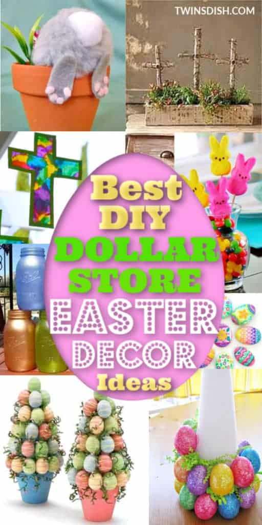 Elegant Dollar Store DIY Easter Decorations Ideas for the home, and outdoor. Includes Christian and Farmhouse crafts kids can make for the table and centerpieces.