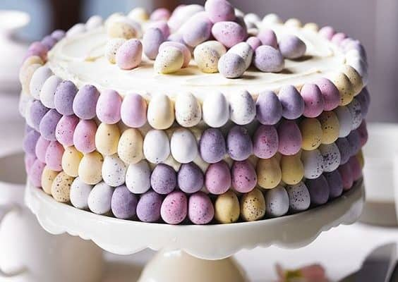 Easy DIY Easter Cake made with pastel candy eggs. Easy Easter cake dessert ideas.