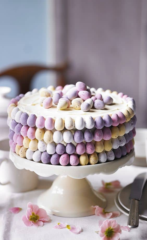 Elegant Cake decorated with candy eggs. Easy DIY Easter Dessert Idea.