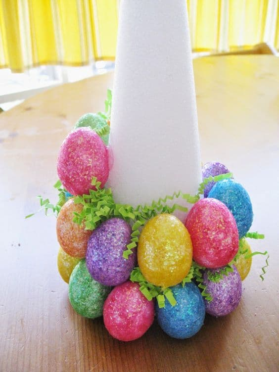 Easy DIY Foam Cone Egg Easter craft idea for kids. The Best Easy DIY Easter Decoration Ideas.
