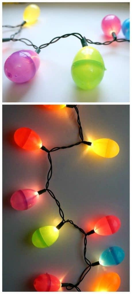 Easy DIY Plastic Easter Egg lights craft idea for kids. The Best Easy DIY Easter Decoration Ideas.