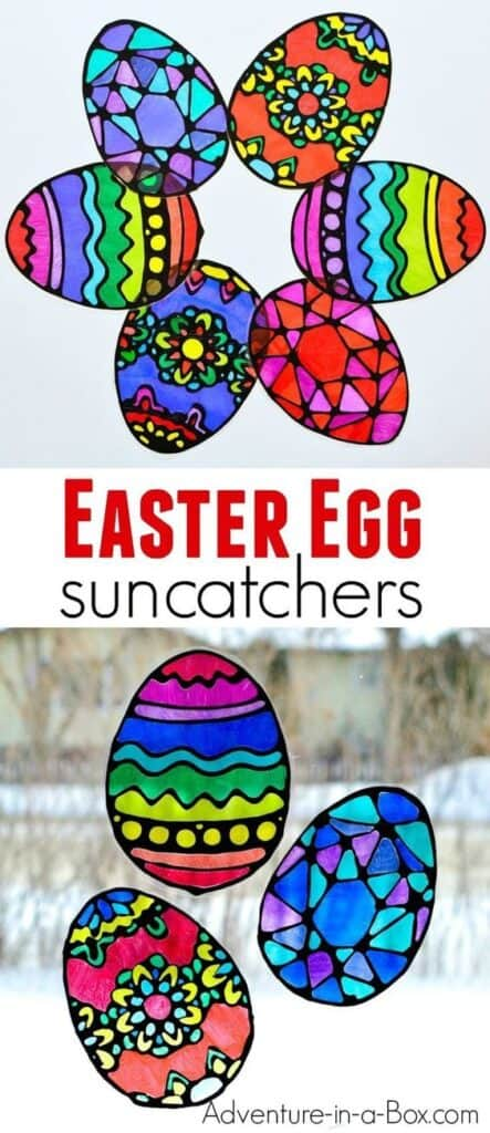 Easy DIY Easter Crafts for kids to make for decorations. Easter Stain Eggs for windows.