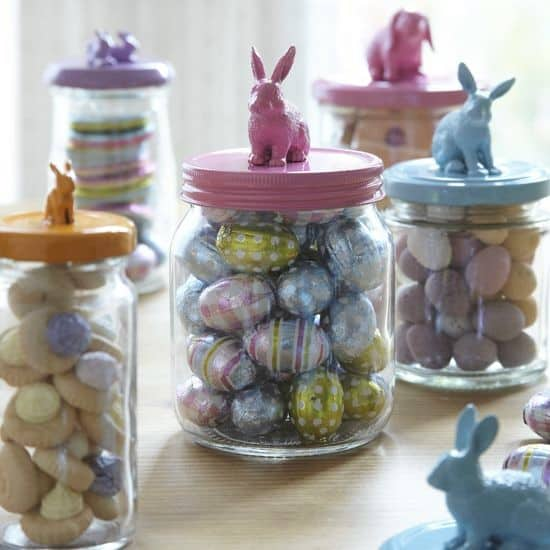 Easy DIY Easter in a Jar Bunny Dollar Store Easter craft idea for kids gifts and baskets. The Best Easy DIY Easter Decoration Ideas for Spring