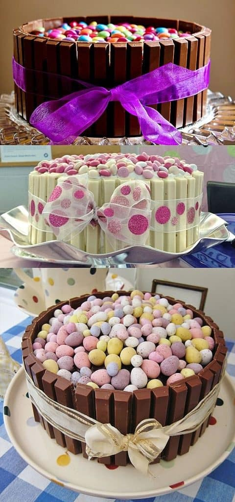 Cake decorated with Kit Kats and candy eggs. Easy DIY Easter Dessert Idea