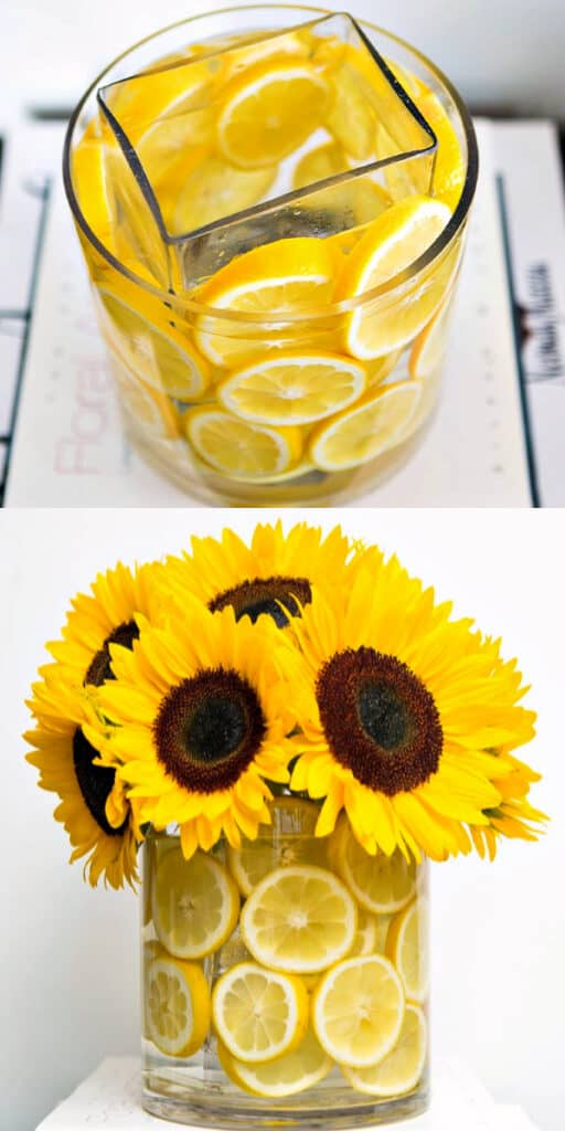 Easy DIY Easter Decoration idea for centerpiece using lemons and sunflowers. The Best Easy DIY Easter Craft Decoration Ideas for a centerpiece.