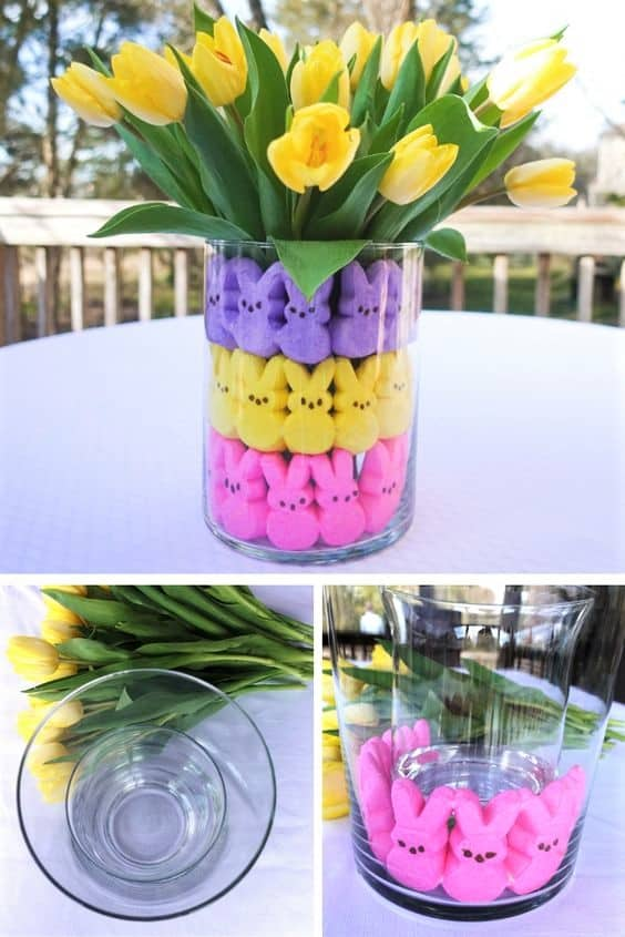 Easy DIY Easter Decoration for kids using dollar store Peeps. The Best Easy DIY Easter Craft Decoration Ideas for a centerpiece.