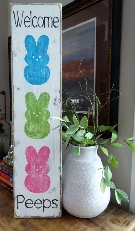 Easter Welcome Peeps Wooden Sign for front door Spring wall Easter decor rustic