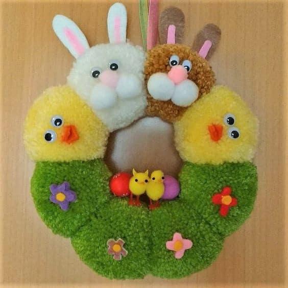 Easter Pom Pom Bunny Easter Wreath Craft Decoration Idea