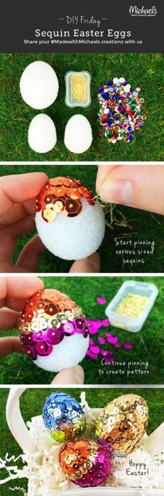 Easy DIY Sequin Foam Easter Egg craft idea for kids. The Best Easy DIY Easter Decoration Ideas.