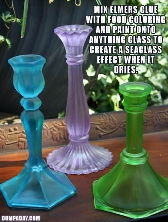 Easy DIY sea glass candlestick craft kids can make for Spring or Easter decorations. Great candlestick idea for a gift or centerpieces for the home or wedding centerpiece.