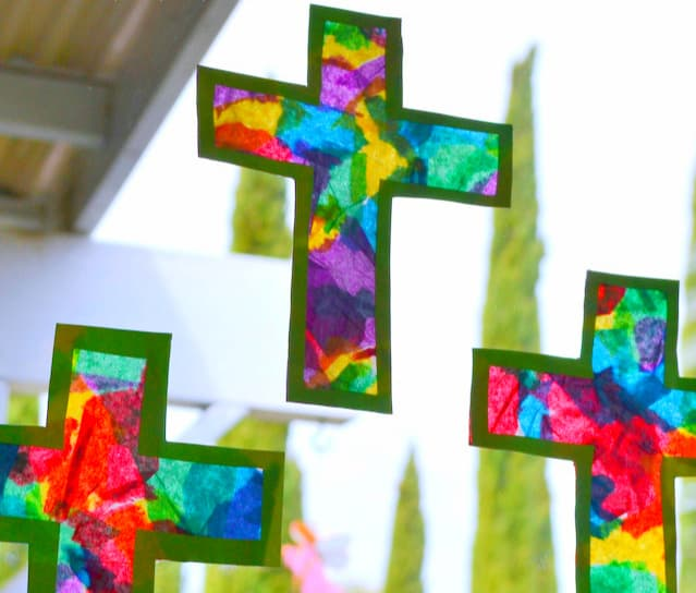 Easy DIY Christian Easter Crafts for kids to make for decorations. Easter Stain Glass Cross crafts.