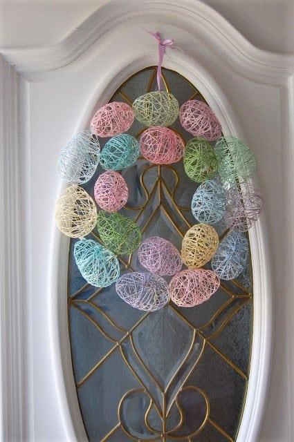 Easy DIY Easter String Egg Wreath Dollar Store Craft Decoration Idea