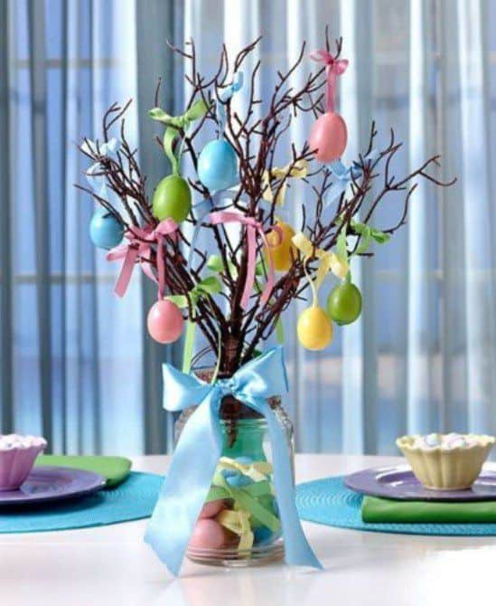 Easy Dollar Store DIY Easter Tree Mason Jar craft decoration idea