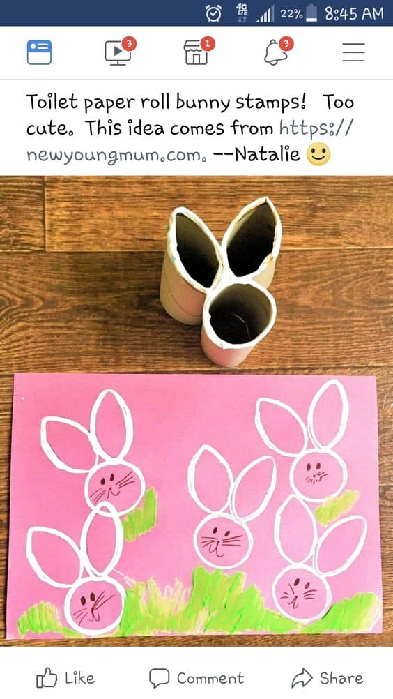 Easy DIY Toilet Paper Roll Bunny Stamp craft idea for kids usig dollar store items. The Best Easy DIY Easter Craft Decoration Ideas.