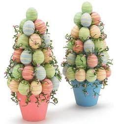 Easy DIY Potted Foam Egg Topiary Tree Easter craft idea for kids. The Best Easy DIY Easter Decoration Ideas.