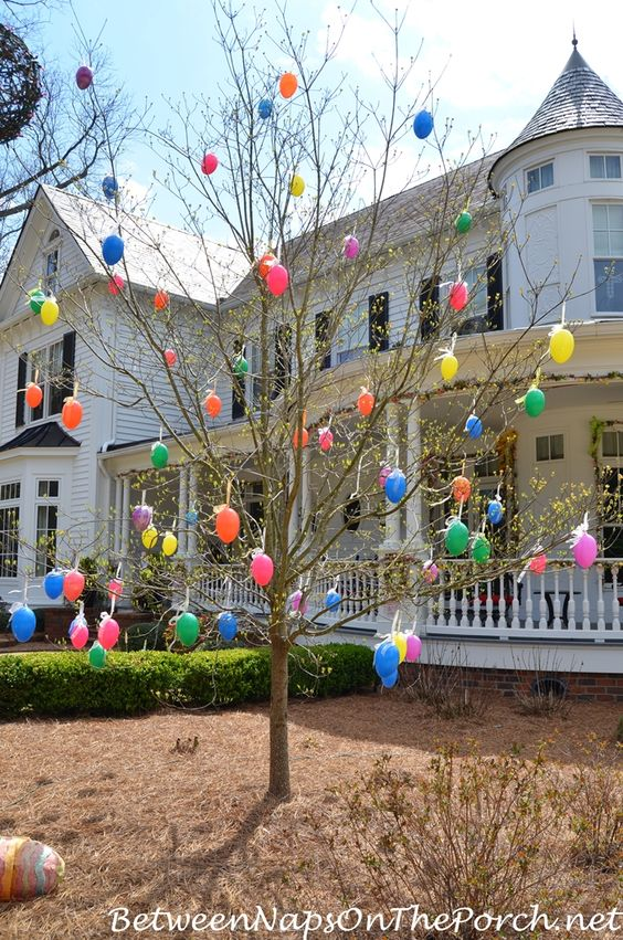 Elegant Dollar Store DIY Easter Tree craft decoration idea for outdoor. Fun for kids.