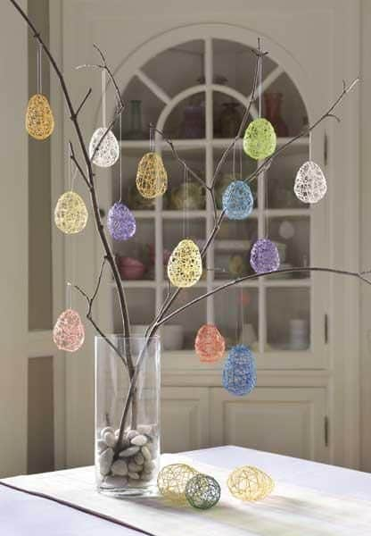 Easy Dollar Store DIY Easter Tree String Egg craft decoration idea
