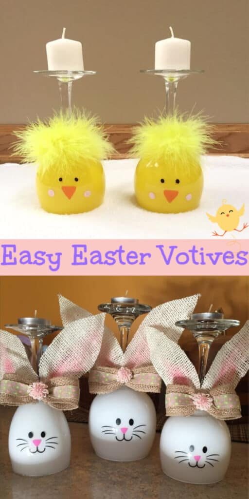 Easy DIY Easter Bunny and Chick wine glass votive centerpiece Easter craft idea. The Best Easy DIY Easter Decoration Ideas.