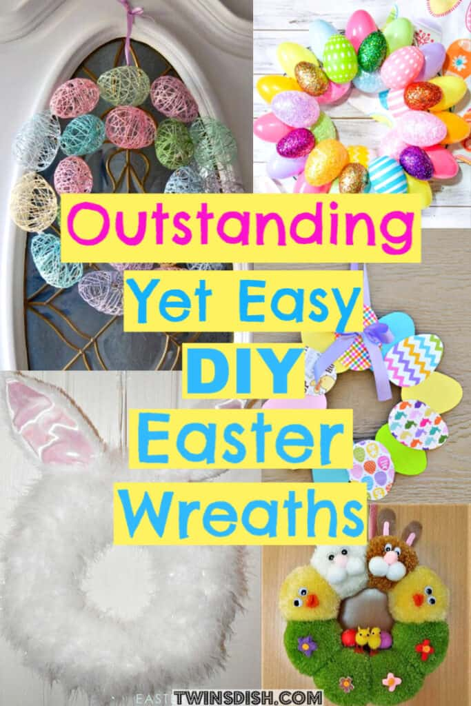 Easter Wreath Ideas that're Easy DIY for front door from Dollar Store #spring #Easter #Wreath #DollarStore #DIY