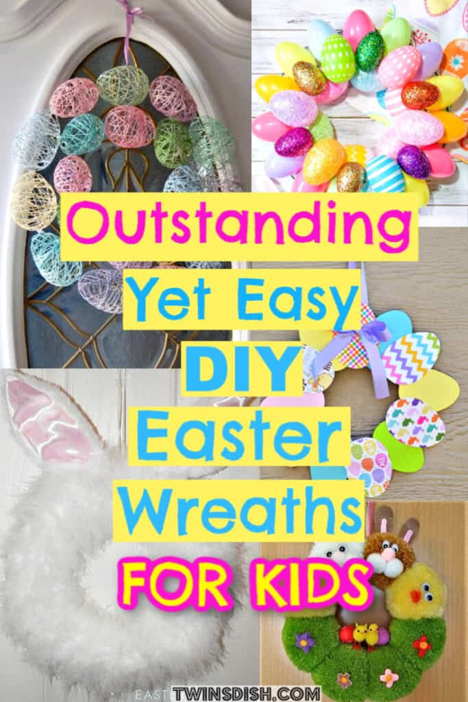 Easter Wreath kids craft Ideas that're Easy DIY for decorations from Dollar Store #Easter #Wreath #DollarStore #kids