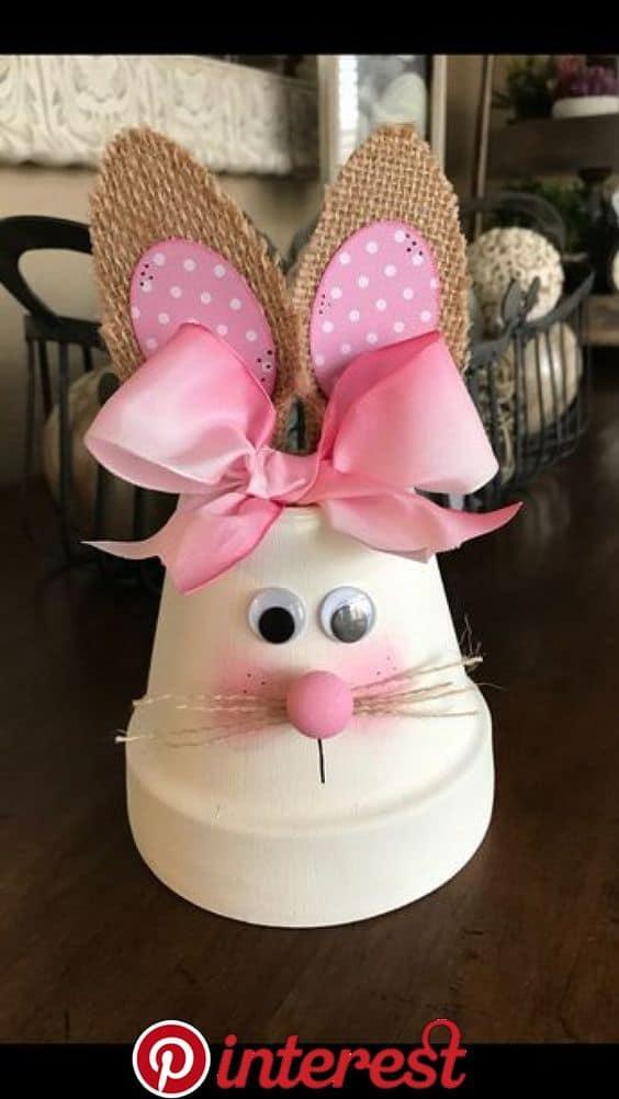 Easy DIY Flower Pot Bunny Easter craft idea for kids. The Best Easy DIY Easter Decoration Ideas.