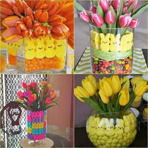 Easy DIY Peeps and Candy Easter Vase Decor Hack using potted plants. Craft idea for kids. The Best Easy DIY Easter Decoration Ideas.