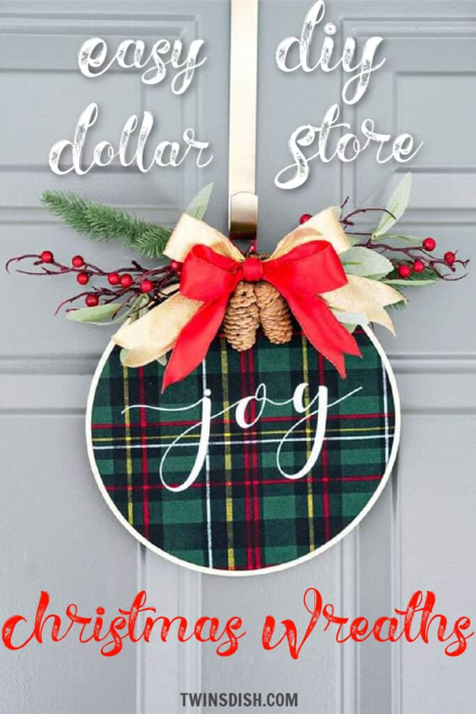 Easy DIY Fabric and Hoop Dollar Store Christmas Wreath