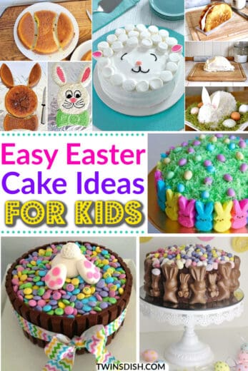 Easy Easter cake ideas for kids that are cute and creative including chocolate, Cadbury Eggs, sugar cookie, and bunny ideas.
