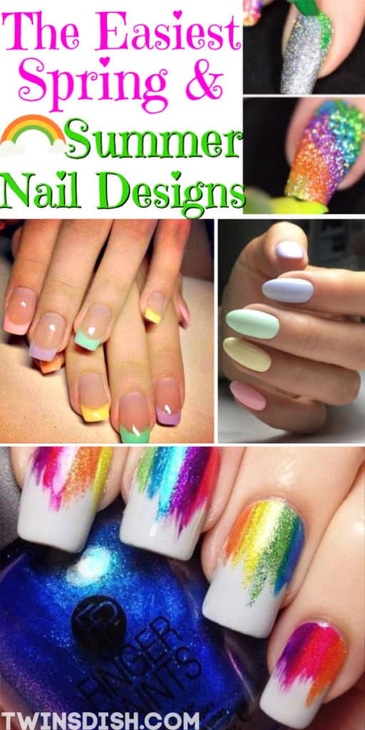 Easy DIY Nail Design Ideas for Spring, and Summer nails. Cute Nail Art.