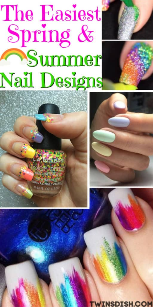 Easy DIY Nail Design Ideas for Easter, Spring, and Summer nails. Cute Nail Art.