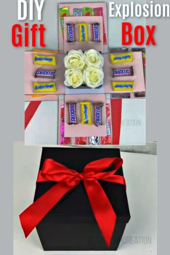 Explosion Box DIY gift idea for boyfriend, for best friends, mom, and him