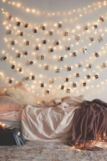 Fairy Lights with photo clips in teen bedroom dorm
