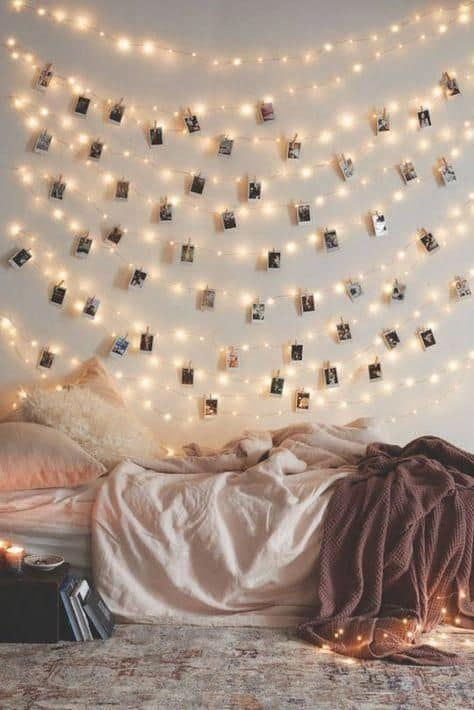 Fairy lights decor with photo clips for bedroom wall