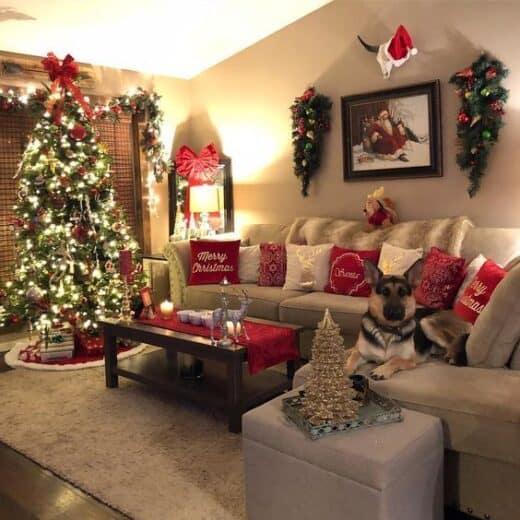 Farmhouse Christmas Decor Idea for livingroom
