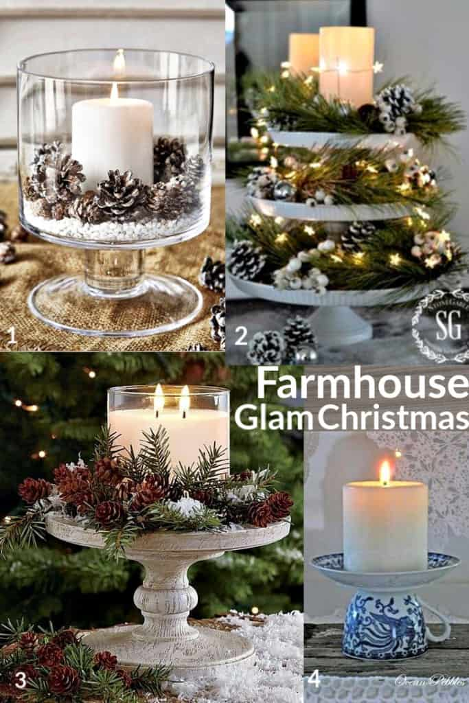 Breathtaking Farmhouse Glam Christmas Decorations that cost nothing. Elegant Christmas or winter decoration, craft, or wedding centerpiece. Easy Budget decor ideas for the home or party. Holiday decor and DIY projects. #DIY #MantleDecorIdea #wedding #Christmas