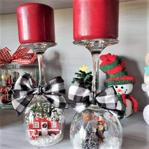 Easy DIY Rustic Farmhouse Glam Christmas - Wine Glass Christmas Snow Globe. Farmhouse Christmas decor ideas and Rustic Christmas decor or gift idea for the home.
