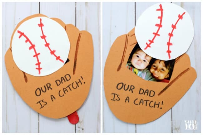 Easy DIY Father's Day baseball pop up photo card from kids