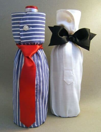 Wine Bottle sleeve bow ties gift bag. Easy DIY Father's Day gift ideas.