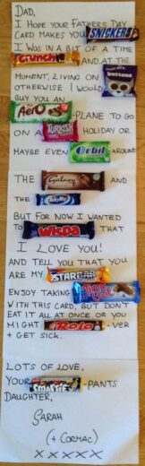 Easy DIY Father's Day candy card gift idea from kids or teens