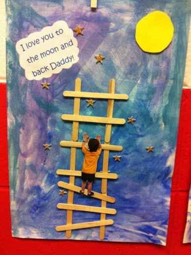 Easy DIY popsicle stick Father's Day Card craft idea from kids