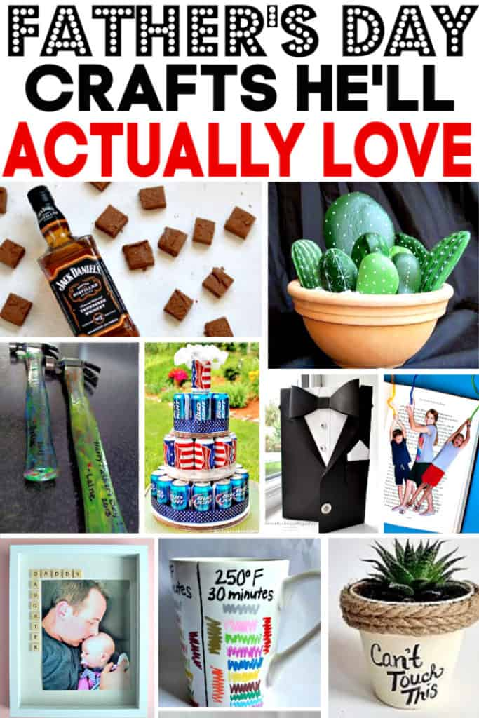 Easy DIY Fathers Day crafts he'll love. Gift ideas.
