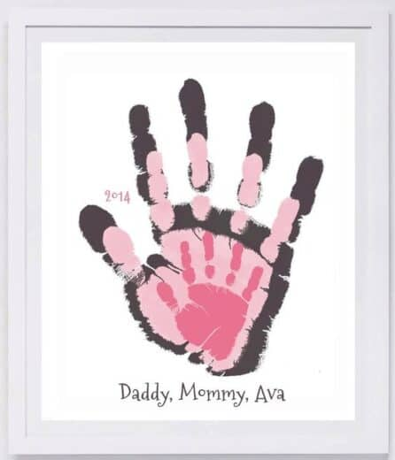 Framed handprints - easy DIY Father's Day Gift for first time Dad or Grandpa