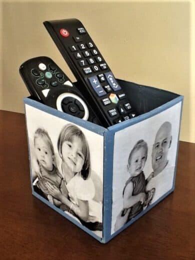 DIY Fathers Day Photo Remote Control Storage Box
